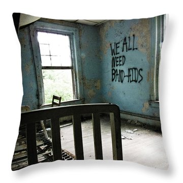 We All Need Band-aids Throw Pillow by Jessica Brawley