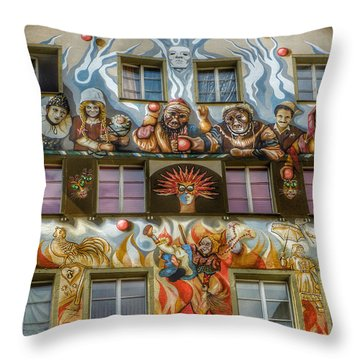 Throw Pillow featuring the photograph We Are All Friends Here  by Connie Handscomb