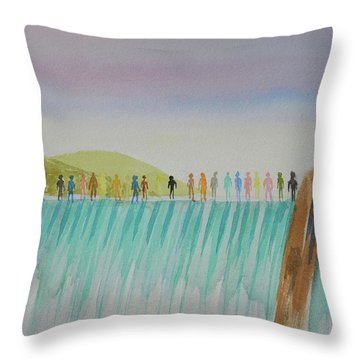Throw Pillow featuring the painting We Are All The Same 1.1 by Tim Mullaney