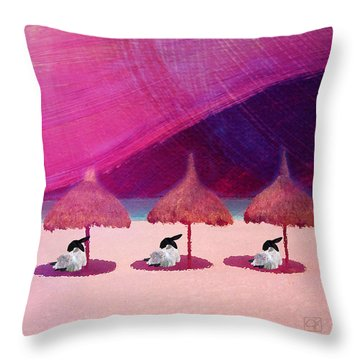 We Are But Sheep On The Beach Throw Pillow