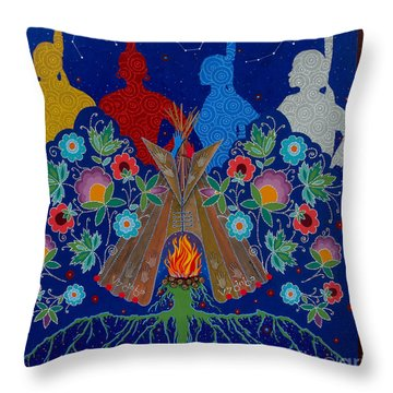 Throw Pillow featuring the painting We Are One Bond by Chholing Taha