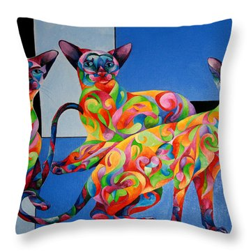 We Are Siamese If You Please Throw Pillow by Sherry Shipley