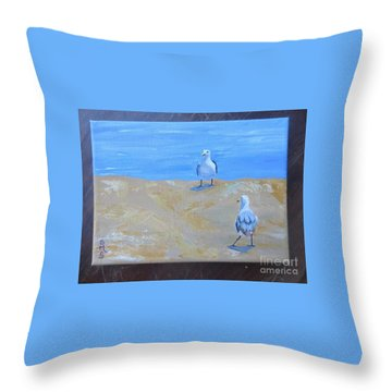 We First Met On The Beach Throw Pillow