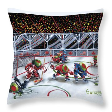 We Olive Hockey Throw Pillow