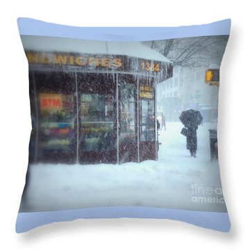 We Sell Flowers - Winter In New York Throw Pillow by Miriam Danar