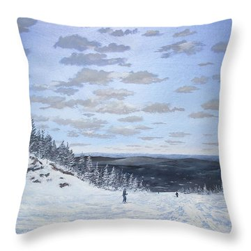 Throw Pillow featuring the painting We Ski by Ken Ahlering