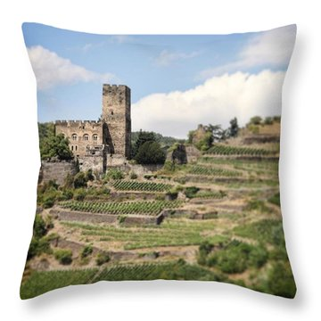 Rhine River Castle And Winery Throw Pillow