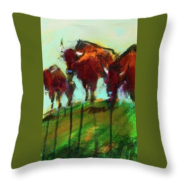 We Three Buffalo Throw Pillow