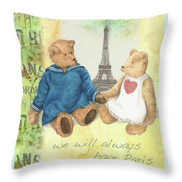 We Will Always Have Paris Whimsical Bears Throw Pillow