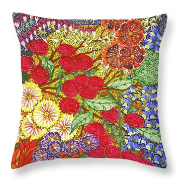 Throw Pillow featuring the painting We Will Have Many Blooms #2 by Kym Nicolas