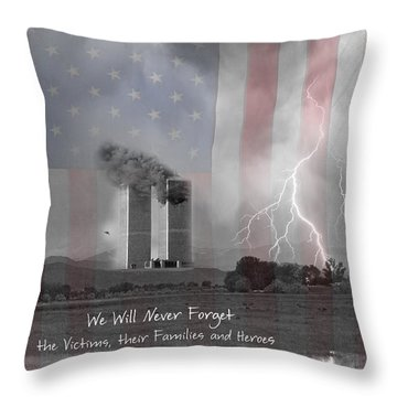We Will Never Forget  The Victims Their Families And Heroes Throw Pillow by James BO  Insogna