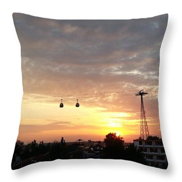 Sunset Over The Sea Side Throw Pillow