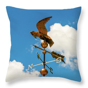 Weather Vane On Blue Sky Throw Pillow