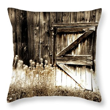 Throw Pillow featuring the photograph Weathered Barn Door by Gray  Artus