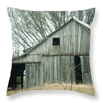 Weathered Barn In Winter Throw Pillow