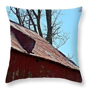 Throw Pillow featuring the photograph Weathered Barn Roof- Fine Art by KayeCee Spain