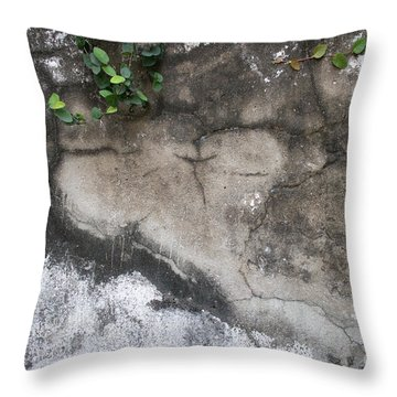 Weathered Broken Concrete Wall With Vines Throw Pillow