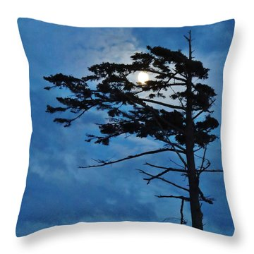 Weathered Moon Tree Throw Pillow