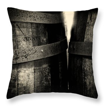 Weathered Old Apple Barrels Throw Pillow by Bob Orsillo