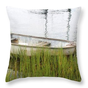 Weathered Old Skiff - The Outer Banks Of North Carolina Throw Pillow