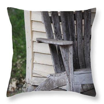 Throw Pillow featuring the photograph Weathered Porch Chair by Debbie Karnes