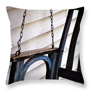 Throw Pillow featuring the photograph Weathered Porch Swing by Debbie Karnes