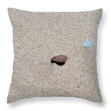 Weathered Rock And Beach Glass Throw Pillow by Michelle Calkins