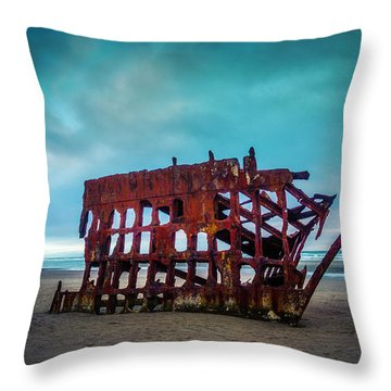 Weathered Rusting Shipwreck Throw Pillow by Garry Gay