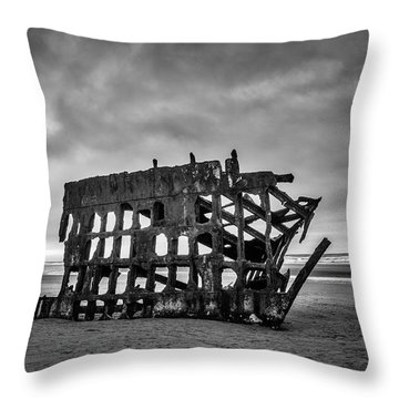 Weathered Rusting Shipwreck In Black And White Throw Pillow