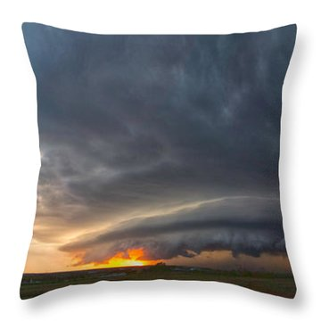 Weatherford Oklahoma Sunset Supercell Throw Pillow