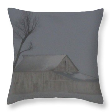 Weathering The Blizzard Throw Pillow