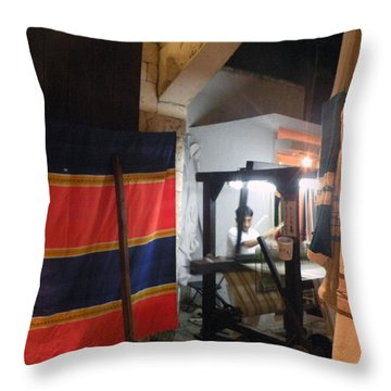 Throw Pillow featuring the photograph Weaver In Playa Del Carmen by Dianne Levy