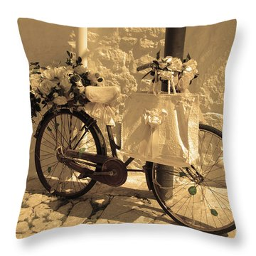 Wedding Bike Throw Pillow