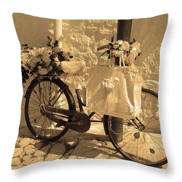 Wedding Bike Throw Pillow