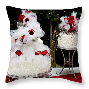 Wedding Cake And Red Roses Throw Pillow by Andee Design