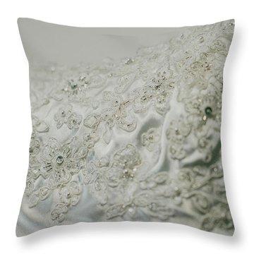 Wedding Dress Floral Beadwork Throw Pillow