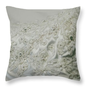 Wedding Dress Floral Beadwork Throw Pillow