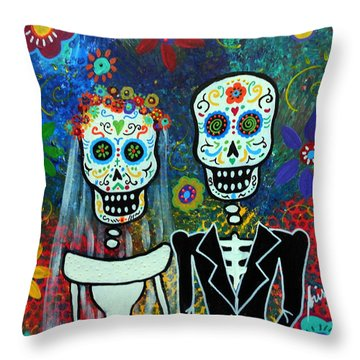 Wedding Muertos Throw Pillow