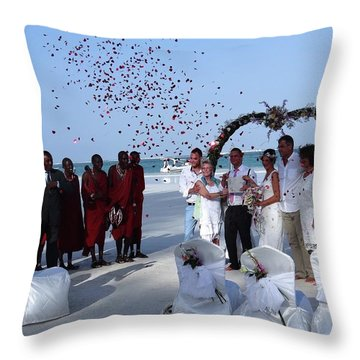 Wedding Party In Rose Petals Throw Pillow