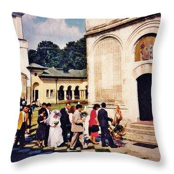 Wedding Procession In Muntenia Throw Pillow by Sarah Loft