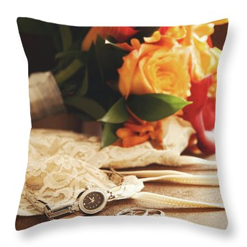 Wedding Ring With Bouquet On Velvet  Throw Pillow by Sandra Cunningham