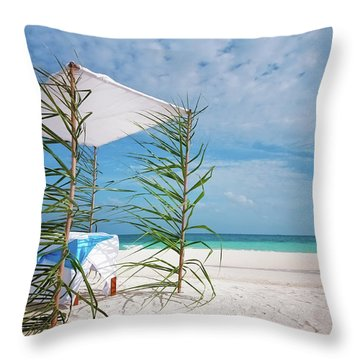 Throw Pillow featuring the photograph Wedding Tent On The Beach by Jenny Rainbow