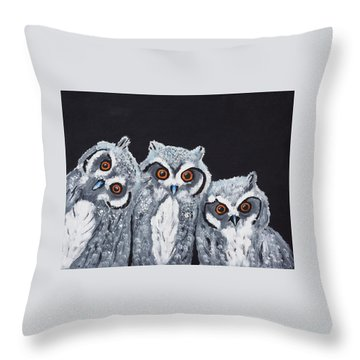 Throw Pillow featuring the painting Wee Owls by Scott Wilmot