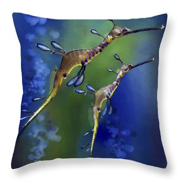 Throw Pillow featuring the digital art Weedy Sea Dragon by Thanh Thuy Nguyen
