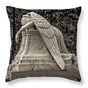 Weeping Angel - Sepia Throw Pillow