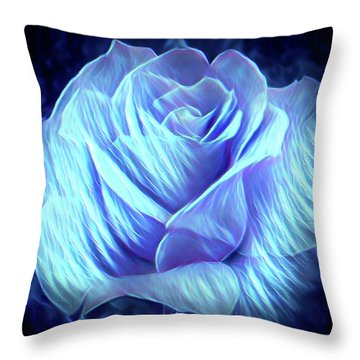Weeping Blue Rose  Throw Pillow