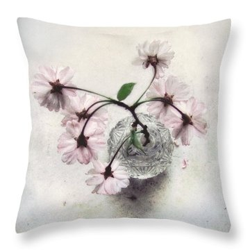 Throw Pillow featuring the photograph Weeping Cherry Blossoms Still Life by Louise Kumpf
