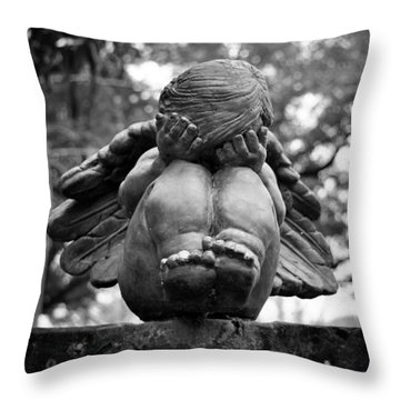 Weeping Child Angel Throw Pillow