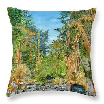 Throw Pillow featuring the painting Weeping Janur Bali Indonesia by Melly Terpening