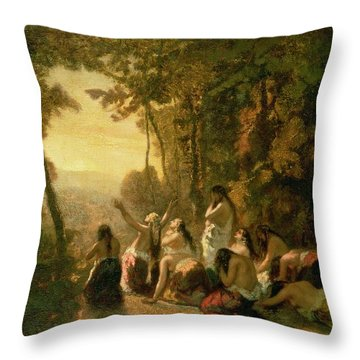 Weeping Of The Daughter Of Jephthah Throw Pillow by Narcisse Virgile Diaz de la Pena
